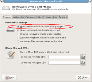 Xfce 4.8 option to mount removable drives when hot-plugged.
